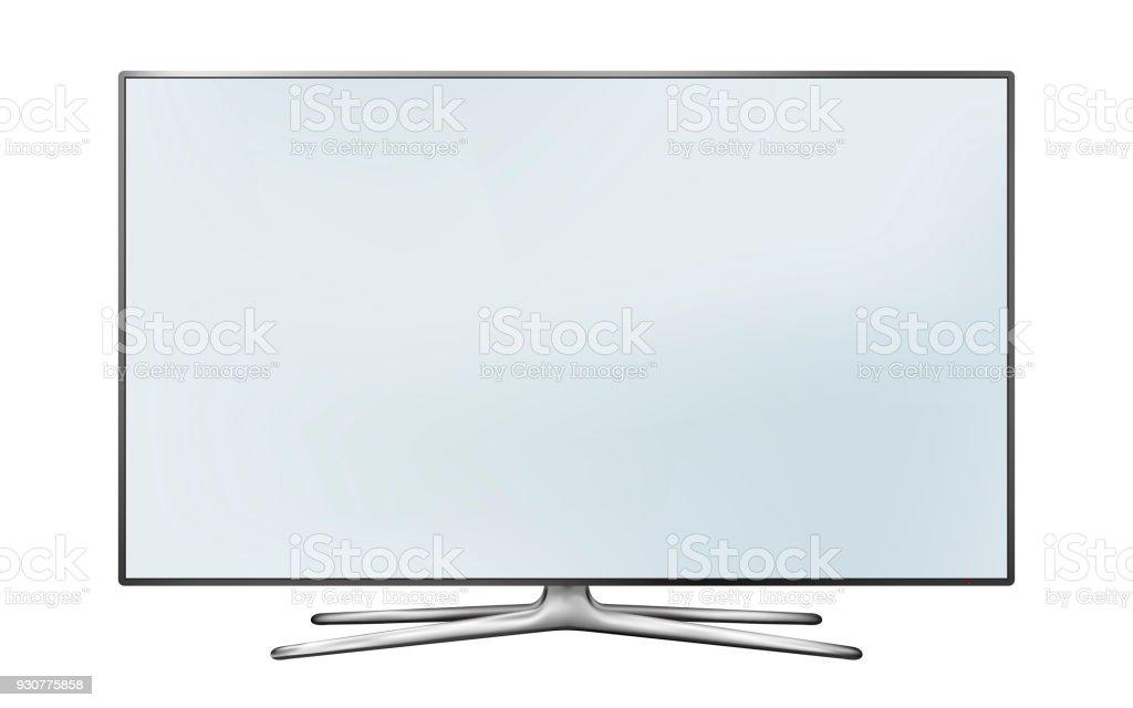 Smart tv led-Monitor isoliert auf weißem Hintergrund – Vektorgrafik