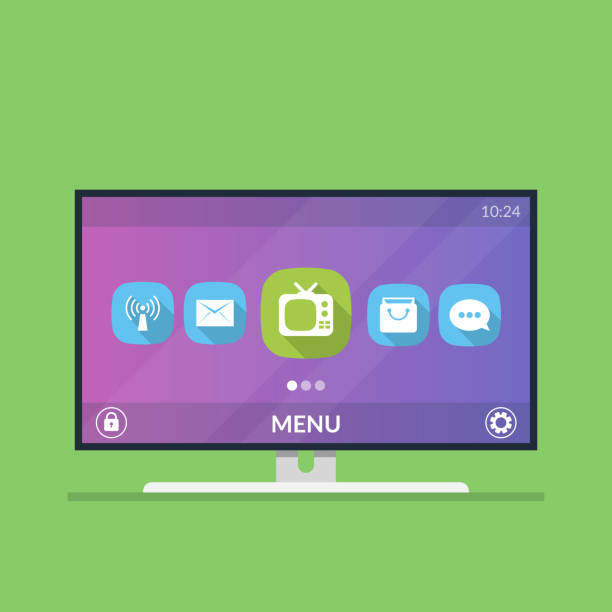 Smart TV. Menu with icons and smart TV settings. Flat vector illustration isolated on green background. Smart TV. Menu with icons and smart TV settings. Flat vector illustration isolated on green background letterbox format stock illustrations