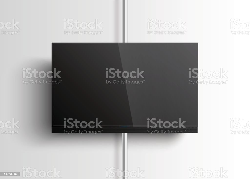 Smart TV Mockup hanging on the wall vector art illustration