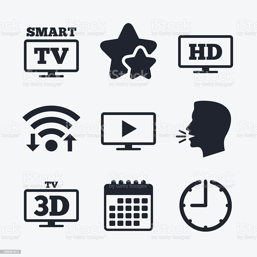 Smart TV mode icon. 3D Television symbol. royalty-free smart tv mode icon 3d television symbol stock vector art & more images of badge