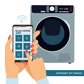Smart washing machine with remote control. Smart home laundry concept. Woman Hands with cellphone,finger touching screen and choosing type of washing Vector flat illustration for web and ad