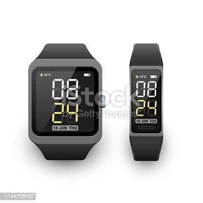 Smart watch and fitness band, activity tracker or sport bracelet with digital clock app on screen. Vector illustration on white background