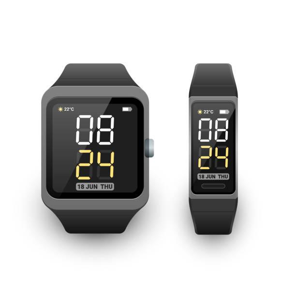 Smarte Uhr und Fitness-Band, Aktivitätstracker oder Sport-Armband mit digitaler Uhr-App auf dem Bildschirm. Vektorabbildung – Vektorgrafik