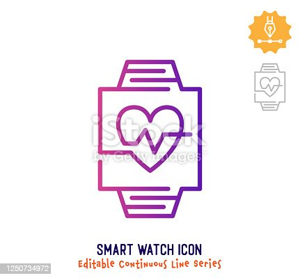 istock Smart Watch Continuous Line Editable Stroke Line 1250734972