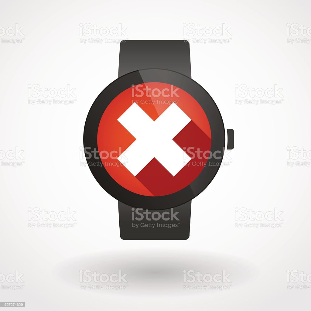 Illustration of an isolated smart watch displaying a delete sign