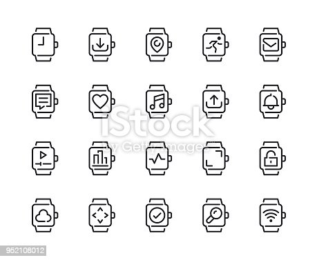 Smart Watch Feature Line Icons Vector EPS 10 File, Pixel Perfect Icons.