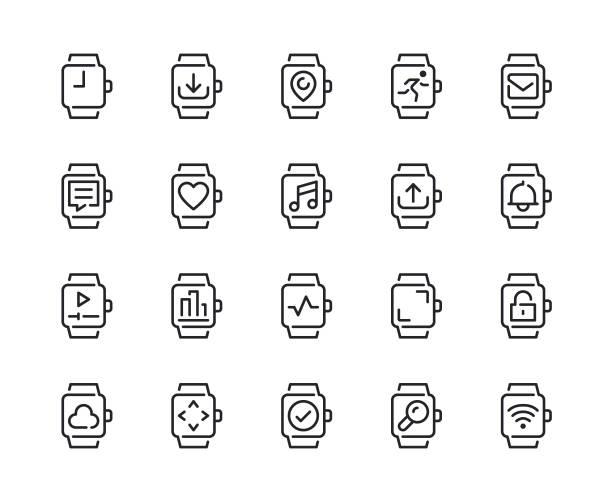 bildbanksillustrationer, clip art samt tecknat material och ikoner med smart watch-klocka funktionen rad ikoner - armbandsur