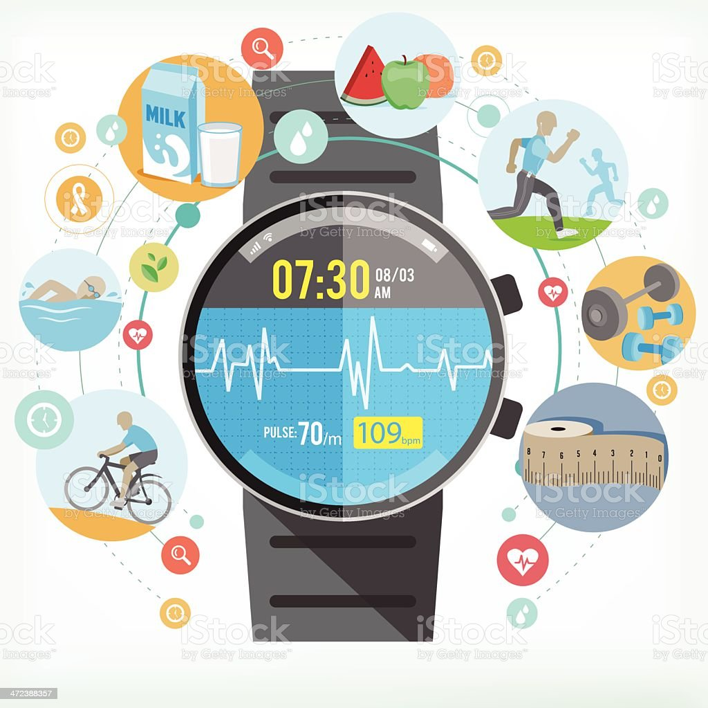 Smart watch for Healthy life vector art illustration
