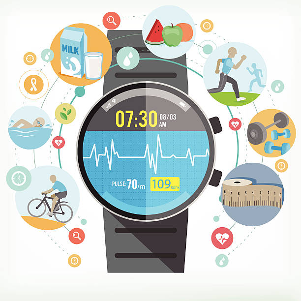smart watch for healthy life - sports medicine stock illustrations, clip art, cartoons, & icons