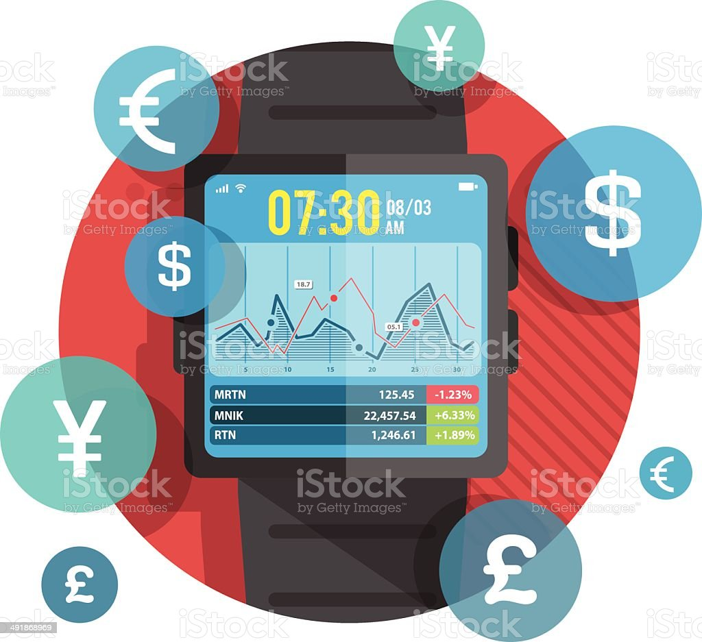 Smart watch for stock exchange royalty-free stock vector art
