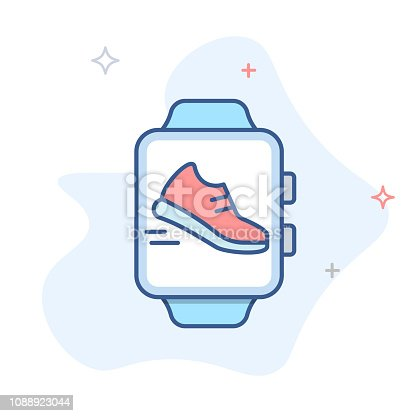 Smart watch icon, pedometer smartwatch vector icon. eps 10