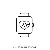 istock Smart Watch Icon with Editable Stroke and Pixel Perfect. 1179761533