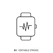 istock Smart Watch Icon with Editable Stroke and Pixel Perfect. 1180999669