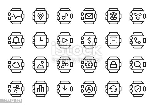 Smart Watch Icons Light Line Series Vector EPS File.