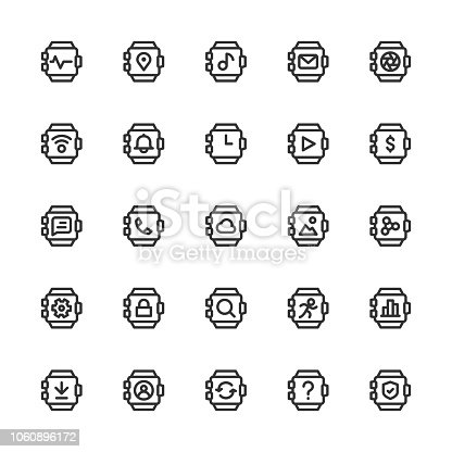 Smart Watch Icons Line Series Vector EPS File.