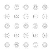 Smart Watch Icons Ultra Thin Line Series Vector EPS File.