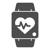 Smart watch line and solid icon. Fitness tracker with heart beat monitor symbol, outline style pictogram on white background. Healthy lifestyle sign for mobile concept and web design. Vector graphics