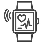 Smart watch line icon, Gym concept, Wrist Watch with heart rate sign on white background, Fitness bracelet icon in outline style for mobile concept and web design. Vector graphics