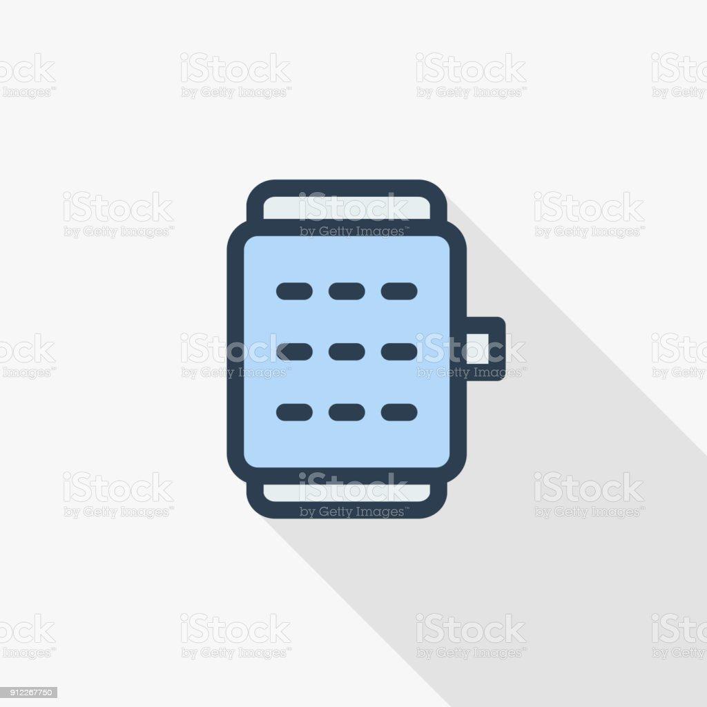 b8317a409127 Icono de color plano de reloj elegante dispositivo móvil moderno delgada  línea. Símbolo de vector