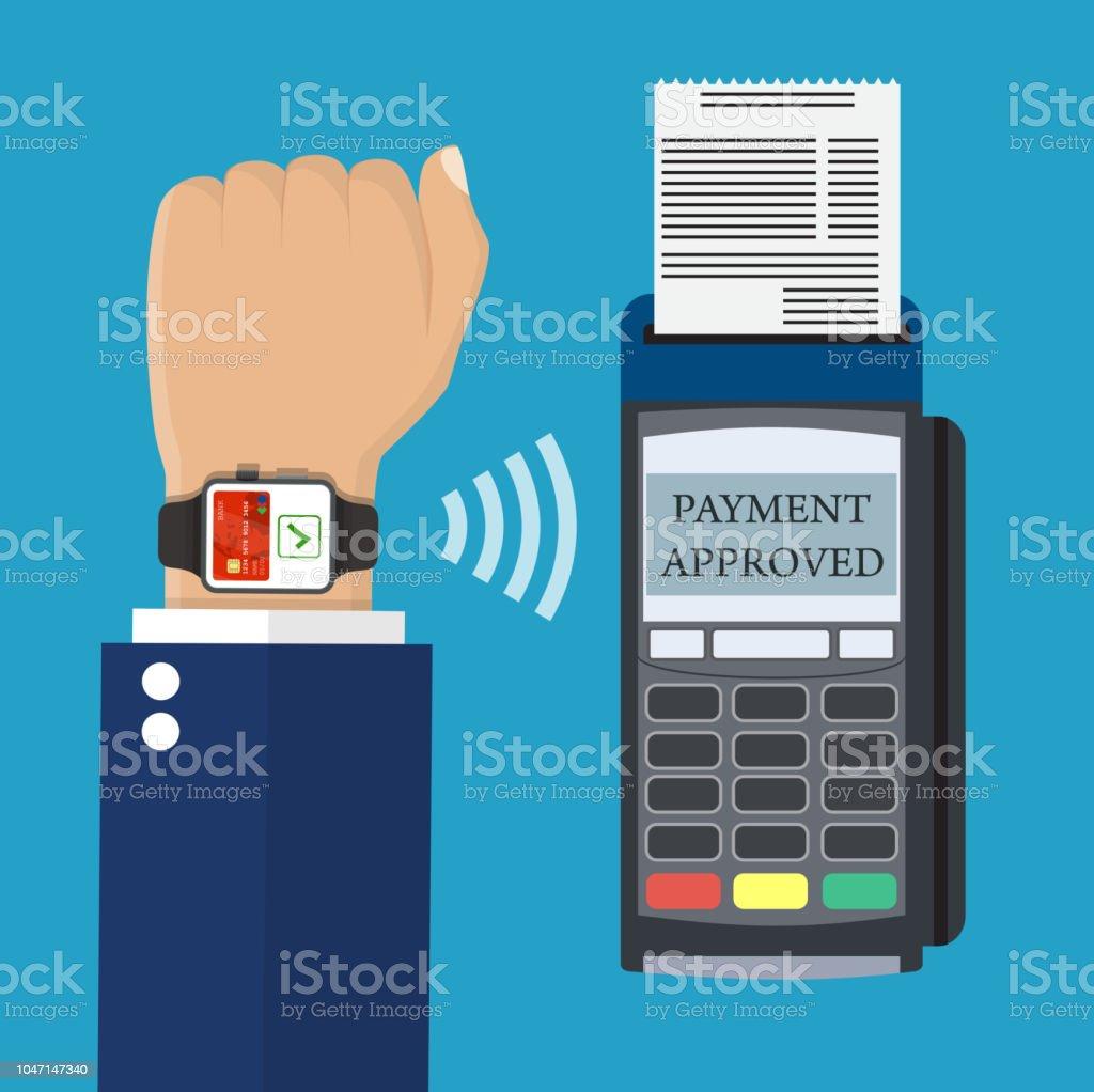 c3e33fbcee18 Reloj elegante pago terminal punto de venta. ilustración de reloj elegante  pago terminal punto de