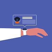 Smart watch. Social media push notification, Pop up window. New technologies. Millennial lifestyle. Flat editable vector illustration, clip art