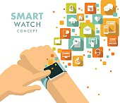 Man hand with modern smart watch and apps icons