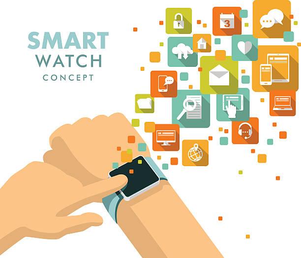 bildbanksillustrationer, clip art samt tecknat material och ikoner med smart watch using concept - armbandsur