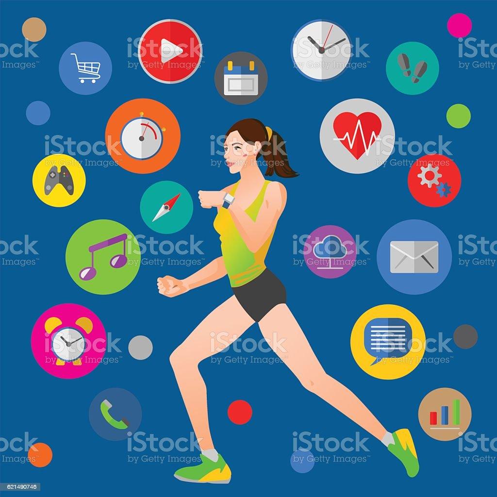 Smart watch vector illustration with fitness woman smart watch vector illustration with fitness woman - immagini vettoriali stock e altre immagini di accessorio personale royalty-free