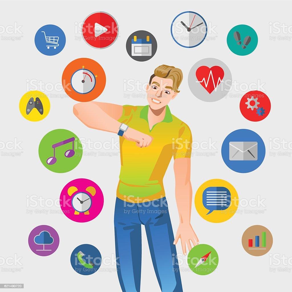 Smart watch vector illustration with man smart watch vector illustration with man – cliparts vectoriels et plus d'images de accessoire libre de droits