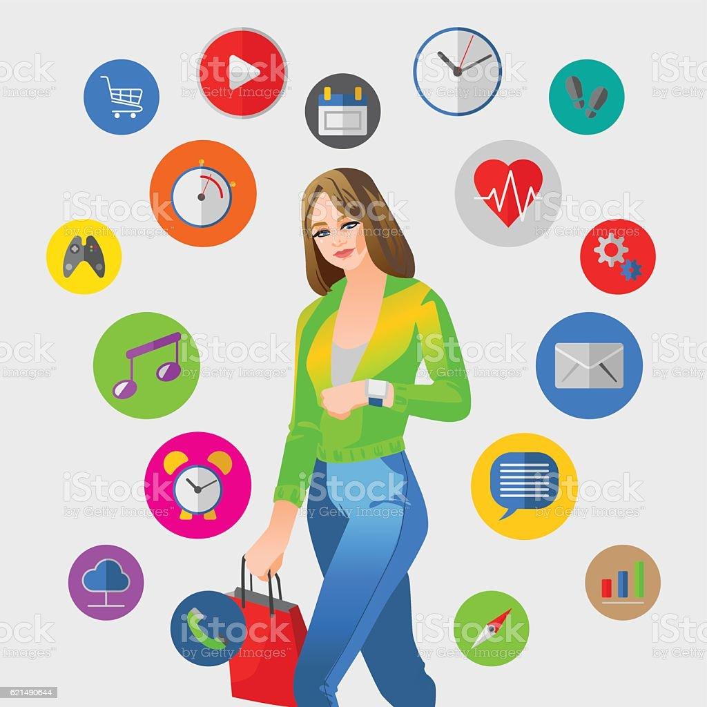 Smart watch vector illustration with woman Lizenzfreies smart watch vector illustration with woman stock vektor art und mehr bilder von accessoires