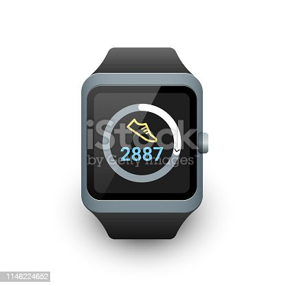 Smart watch with fitness tracker or step counter app on screen. Vector illustration on white background