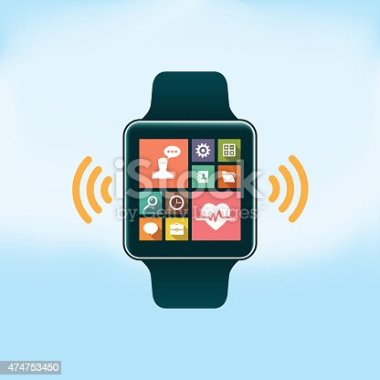 Smart Watch with Flat Design Icons