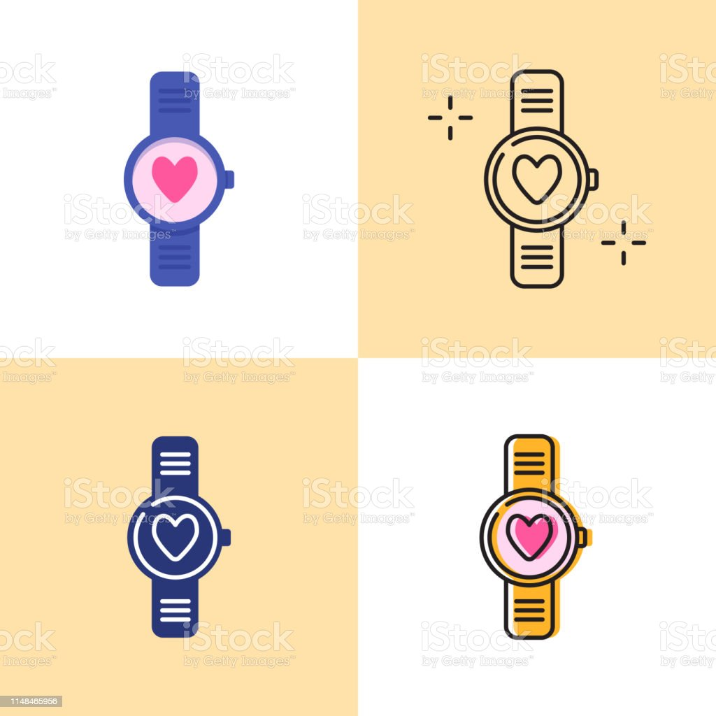 Smart Watch With Heart Icon Set In Flat And Line Styles