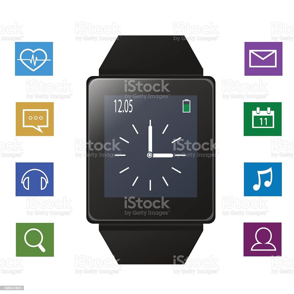 Smart watch with icons near gadget Lizenzfreies smart watch with icons near gadget stock vektor art und mehr bilder von armband
