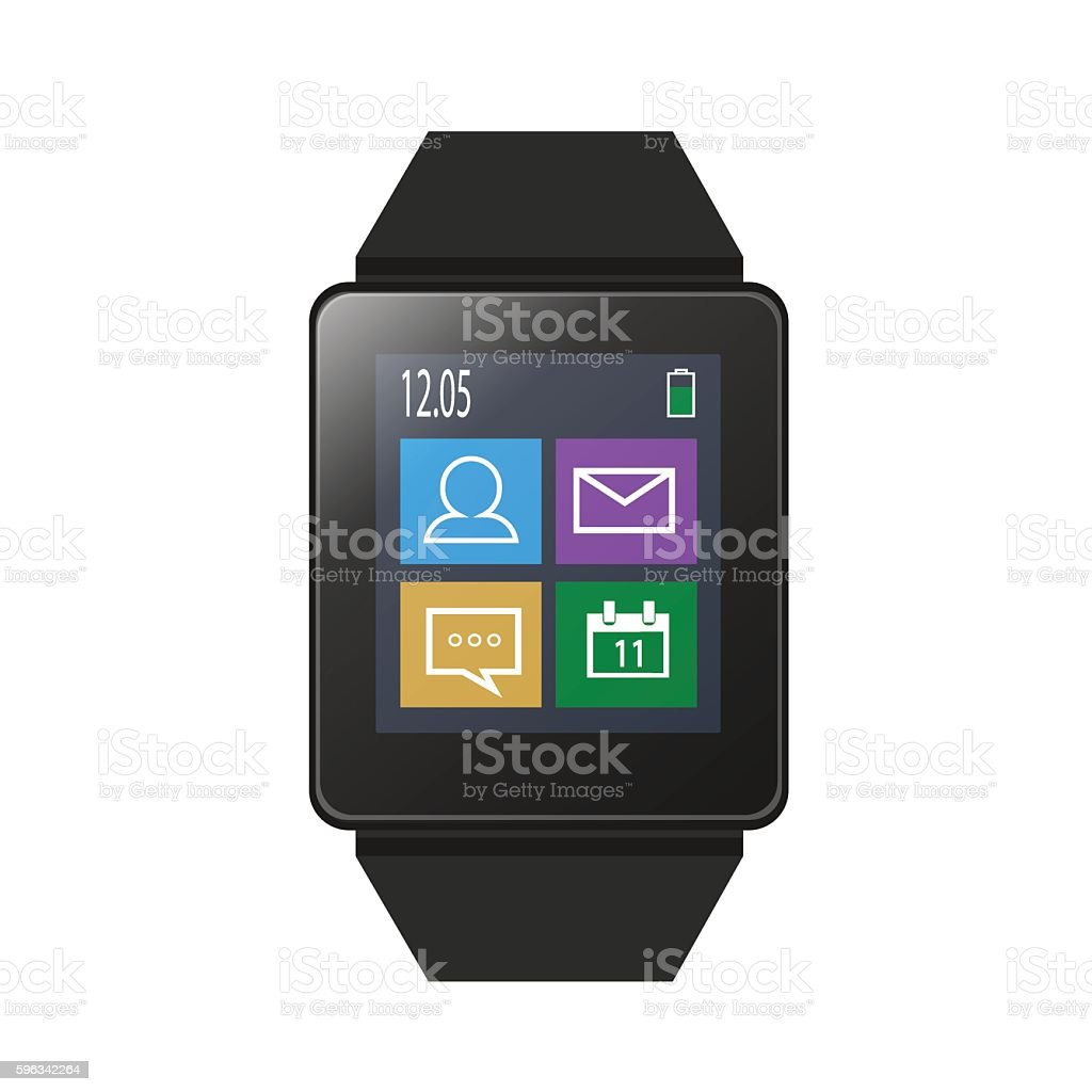 Smart watch with icons on screen royalty-free smart watch with icons on screen stock vector art & more images of bracelet