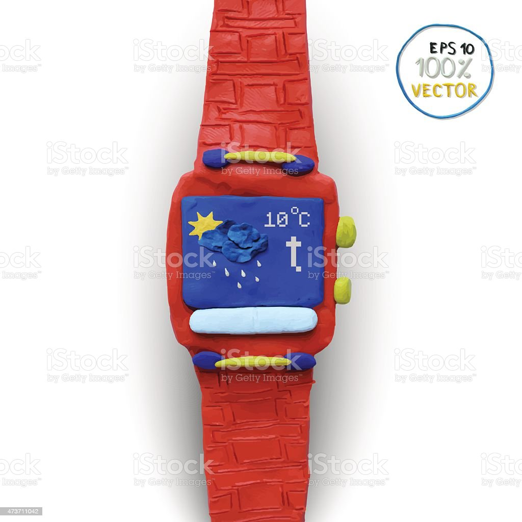 Smart watch with some application icons vector art illustration