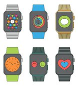 Smart watches set. Colorful vector illustration.