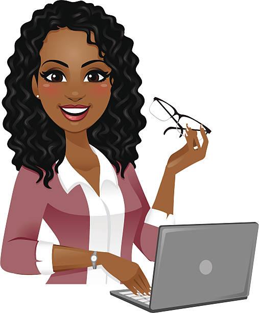 smart woman on laptop - heyheydesigns stock illustrations