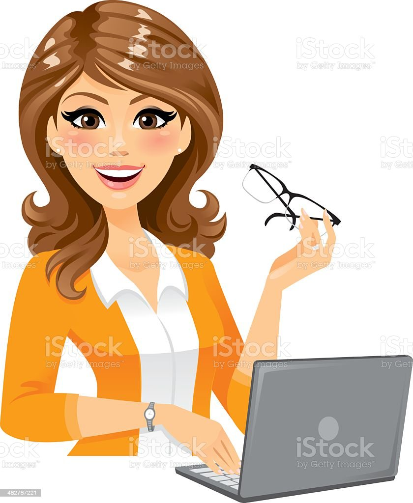 Smart Woman With Laptop vector art illustration