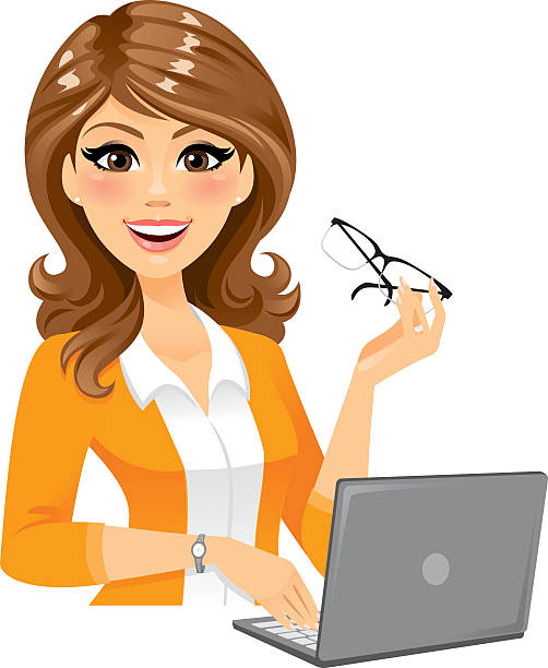 smart woman with laptop - brown hair stock illustrations