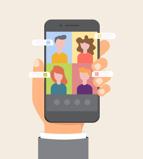 Smart working and video conference on a mobile phone, vector illustration vector art illustration