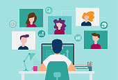 Smart working and video conference, online working with colleagues, vector illustration, Smart working and video conference, online working with colleagues, vector illustration