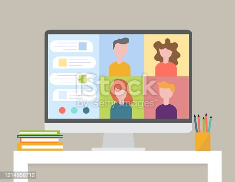 Smart working and video conference, vector illustration, Smart working and video conference, vector illustration