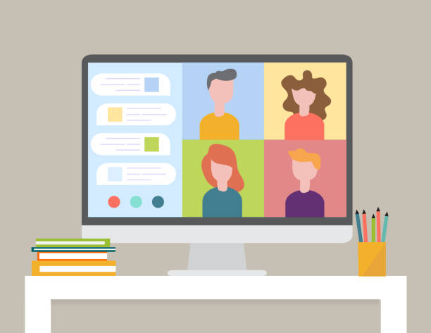 Smart working and video conference, vector illustration Smart working and video conference, vector illustration, Smart working and video conference, vector illustration training stock illustrations