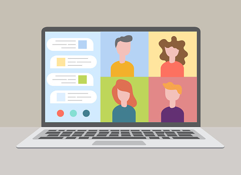 Smart working and video conference, vector illustration