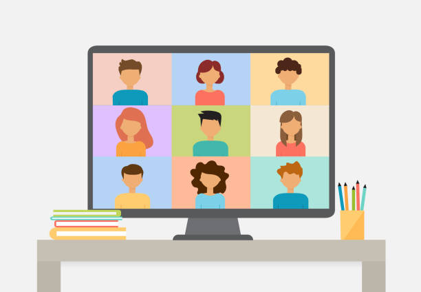 Smart working and video conference, vector illustration vector art illustration