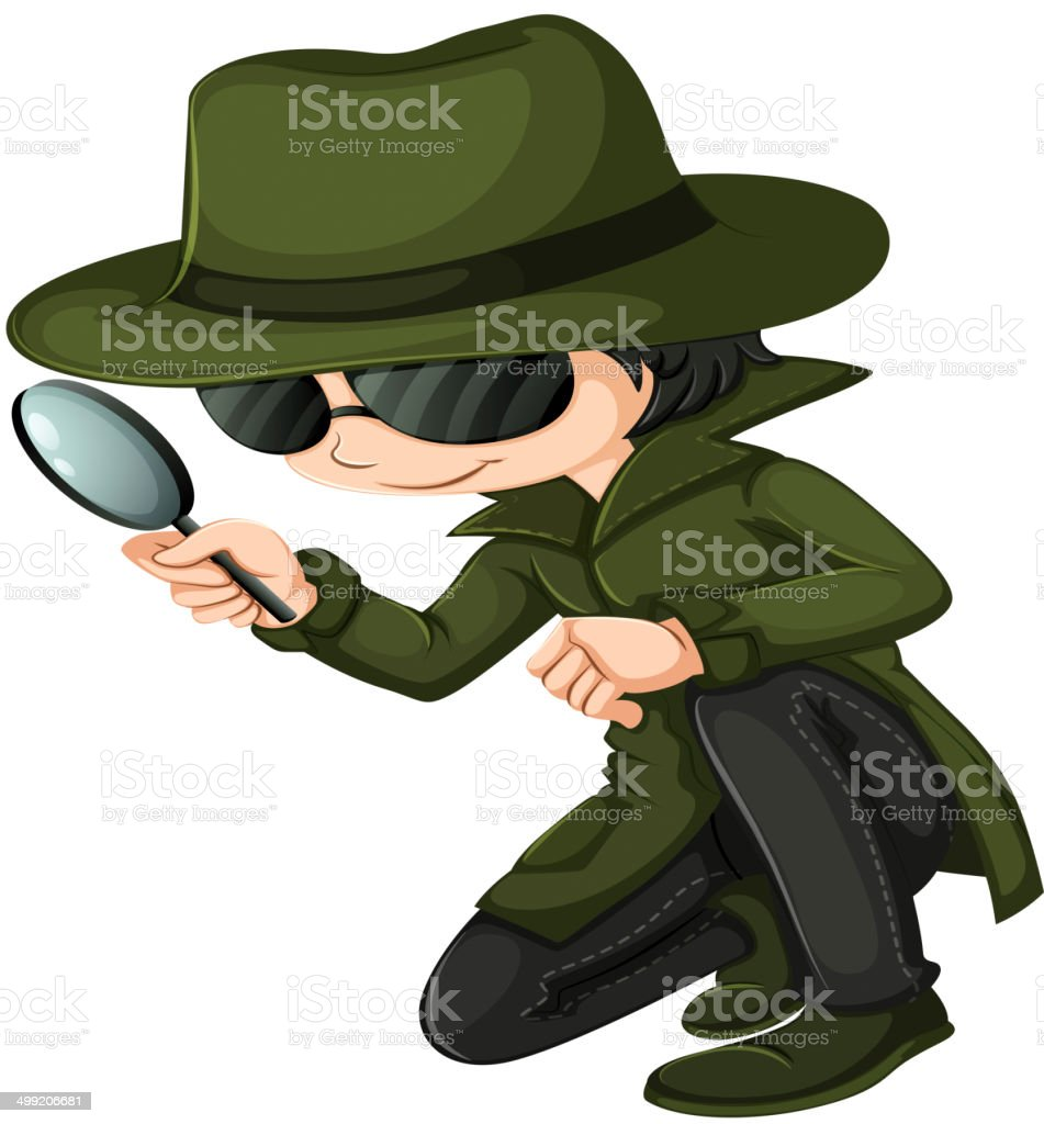 Smart young detective vector art illustration