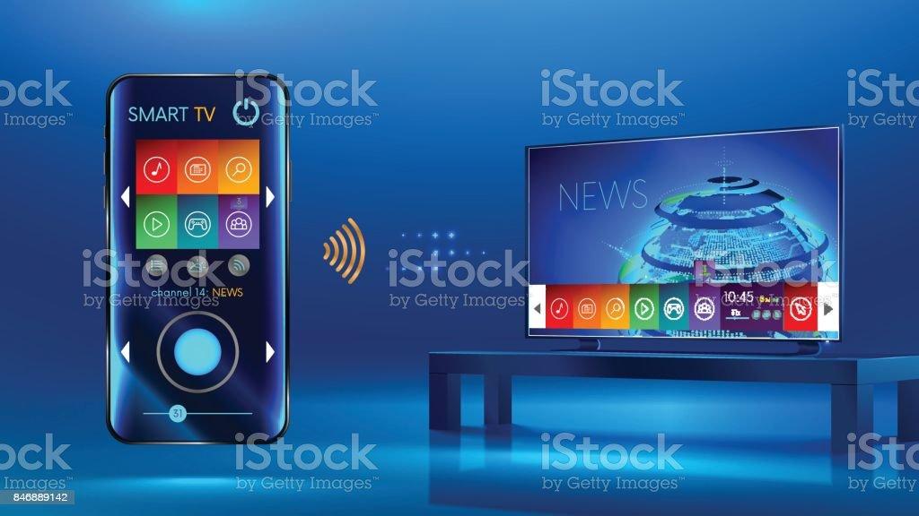 Smart_TV_iot_v2 - TVネットワークアップフロントのロイヤリティフリーベクトルアート