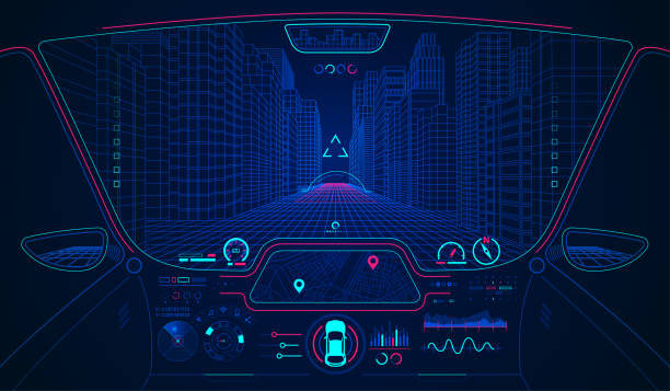 smartCarHud concept of future transportation or smart car, car cockpit with AI interface leisure games stock illustrations