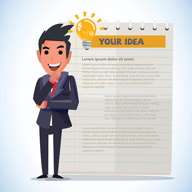 smartman in thinking action. presenting concept - vector smartman in thinking action with lighting bulb of idea. presenting concept - vector illustration suave stock illustrations